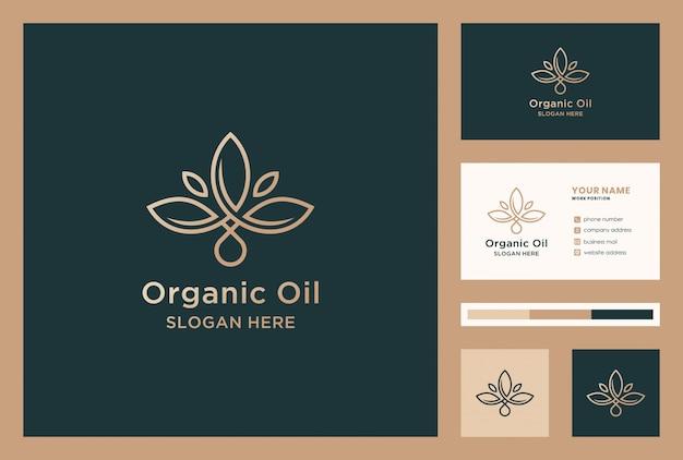 Design de logotipo de óleo natural com cartão de visita