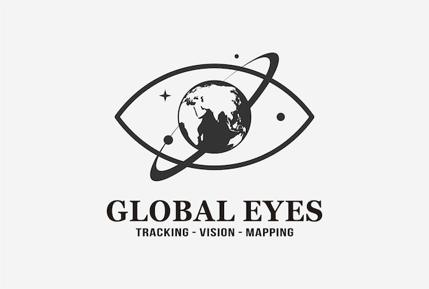 Design de logotipo de olhos globais com elemento planeta.