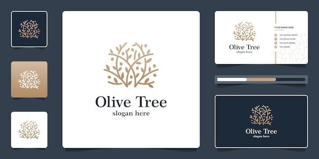 Design de logotipo de oliveira dourada e modelo de cartão de visita
