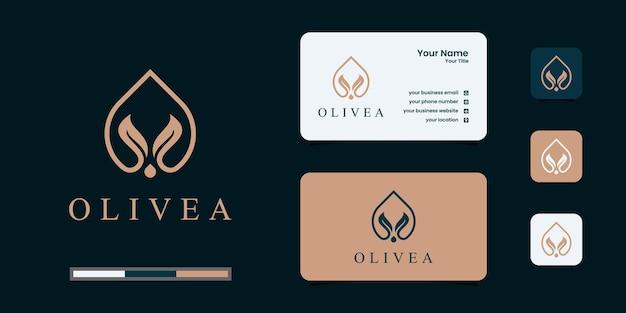 Design de logotipo de oliveira e azeite e cartões de visita