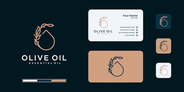 Design de logotipo de oliveira e azeite e modelo de design de cartões de visita