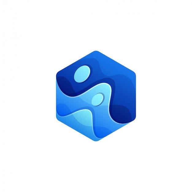 Design de logotipo de onda de cubo