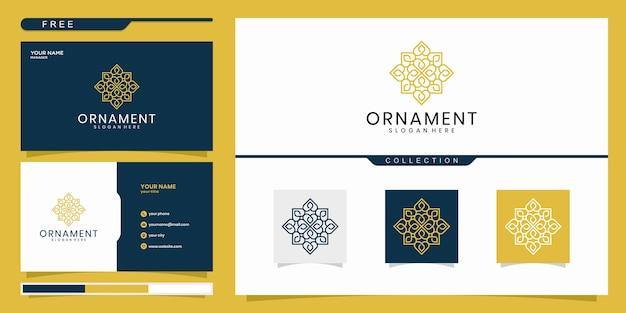 Design de logotipo de ornamento, com conceito de linha. design de logotipo e cartão de visita