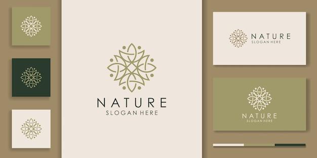 Design de logotipo de ornamento de folha simples da natureza