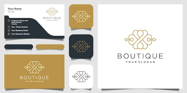 Design de logotipo de ornamento de luxo. design de logotipo e cartão de visita
