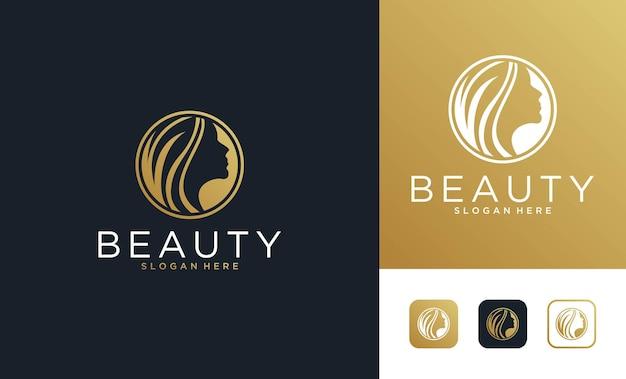 Design de logotipo de ouro de mulheres de beleza elegante.
