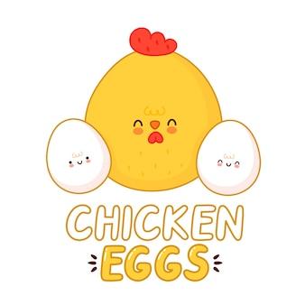 Design de logotipo de ovos de galinha isolado no branco