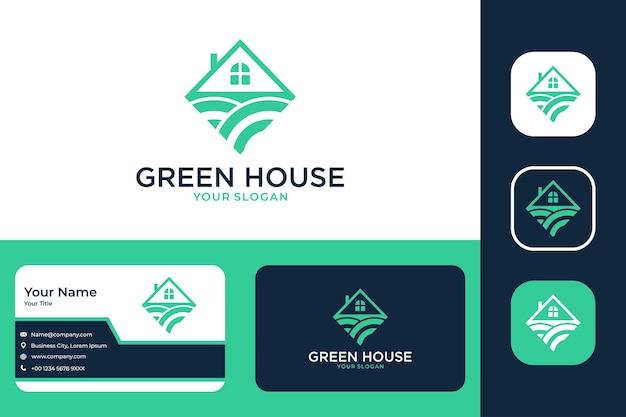 Design de logotipo de paisagem de casa verde e cartão de visita