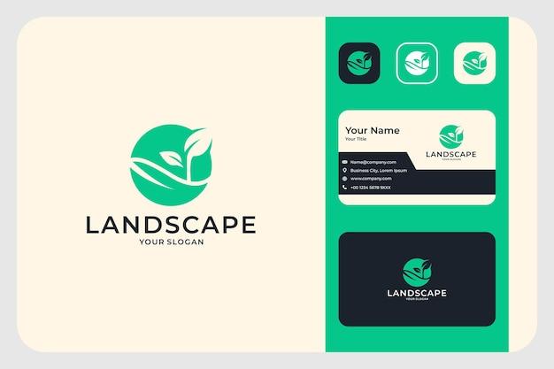 Design de logotipo de paisagem de folha verde e cartão de visita