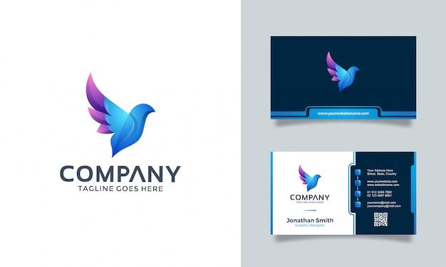 Design de logotipo de pássaro com cartão