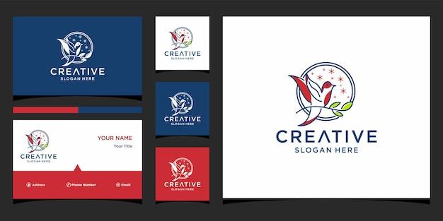 Design de logotipo de pássaro com modelo de cartão de visita