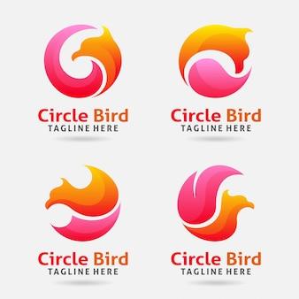Design de logotipo de pássaro de círculo
