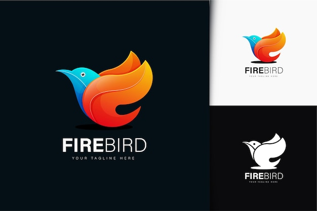 Design de logotipo de pássaro de fogo com gradiente