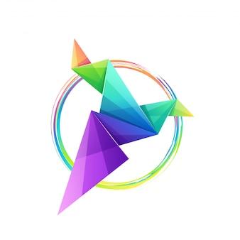 Design de logotipo de pássaro de origami colorido impressionante