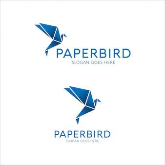 Design de logotipo de pássaro de papel