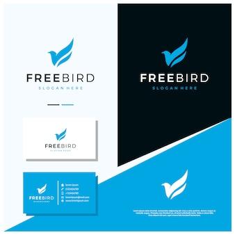 Design de logotipo de pássaro grátis, com estilo de design