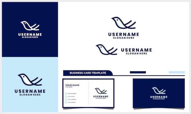 Design de logotipo de pássaro linear e estilo de arte de linha com modelo de cartão de visita