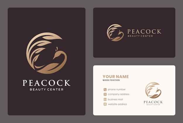 Design de logotipo de pássaro pavão com cartão de visita