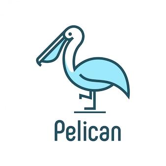 Design de logotipo de pássaro pelicano moderno