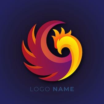 Design de logotipo de pássaro phoenix