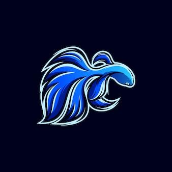 Design de logotipo de peixe azul