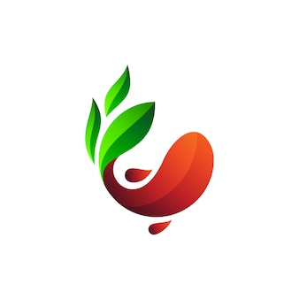 Design de logotipo de peixe e folha