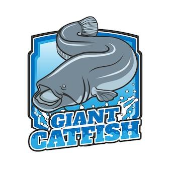 Design de logotipo de peixe-gato gigante com emblema
