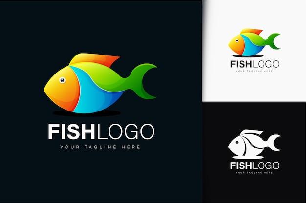 Design de logotipo de peixe gradiente colorido