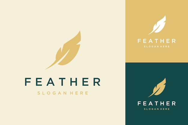 Design de logotipo de penas simples Vetor Premium