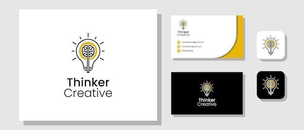 Design de logotipo de pensador criativo com lâmpada e cérebro