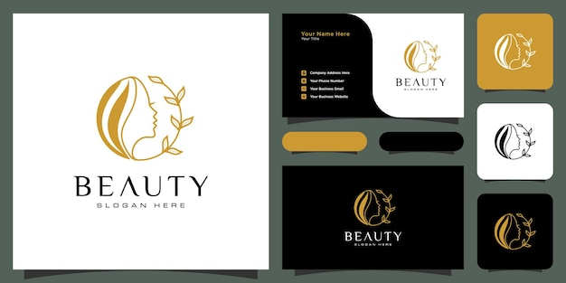 Design de logotipo de penteado de mulher de beleza com cartão de visita para elementos de salão de beleza de pessoas