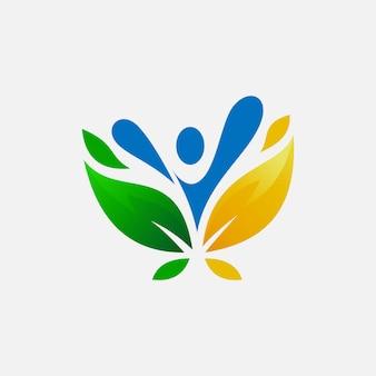 Design de logotipo de peolpe e folhas