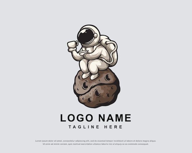 Design de logotipo de personagem de astronauta do café