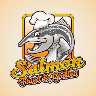 Design de logotipo de personagem de mascote de salmão frito e grelhado