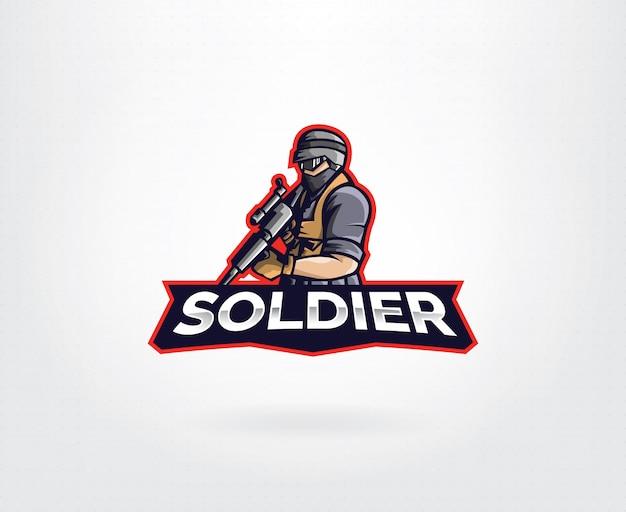Design de logotipo de personagem de mascote de soldado