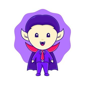 Design de logotipo de personagem de vampiro para pôster de halloween