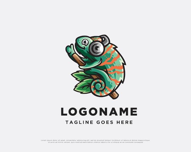 Design de logotipo de personagens musicais do chameleon