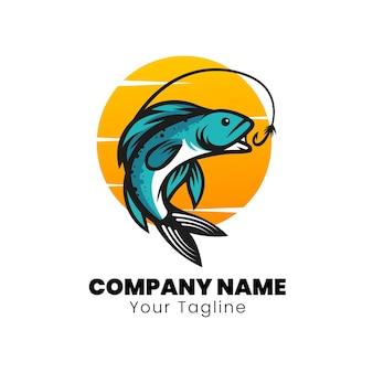 Design de logotipo de pesca no rio