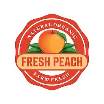 Design de logotipo de pêssego fresco