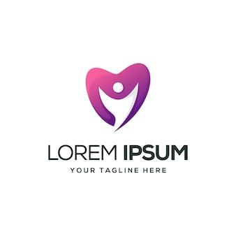 Design de logotipo de pessoas amor pronto para usar