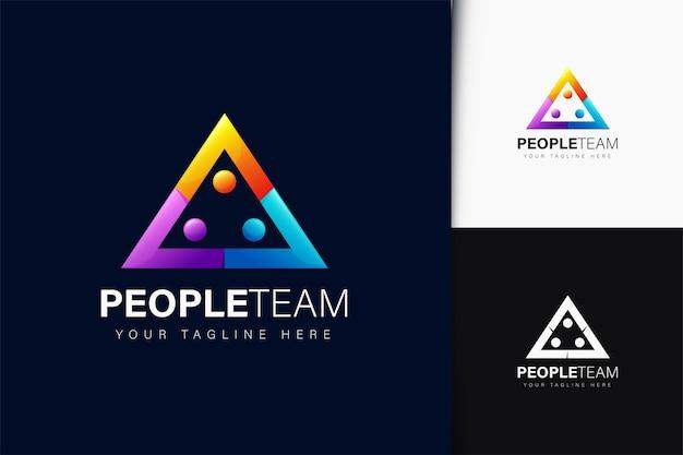 Design de logotipo de pessoas em triângulo com gradiente