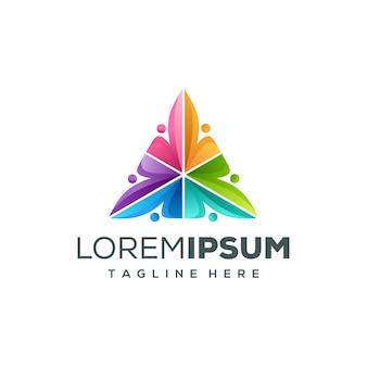 Design de logotipo de pessoas triângulo