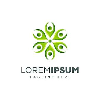 Design de logotipo de pessoas verdes
