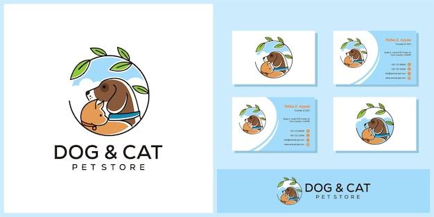 Design de logotipo de pet shop cão gato com cartão de visita