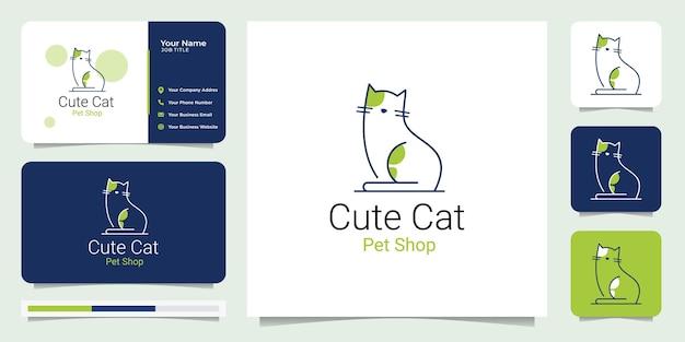 Design de logotipo de pet shop de gato fofo com cartão de visita