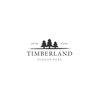 Design de logotipo de pinheiro árvore vintage timberland