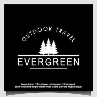 Design de logotipo de pinheiros abeto cedro
