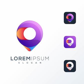 Design de logotipo de pino colorido pronto para uso