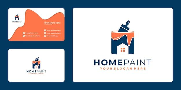 Design de logotipo de pintura abstrata com conceito de casa e cartão de visita