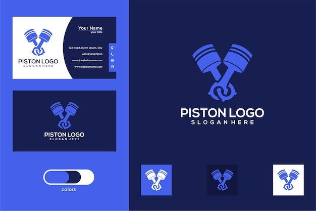 Design de logotipo de pistão automotivo e cartão de visita